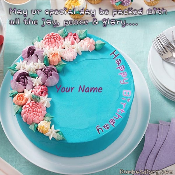 Aqua Color Birthday Cake