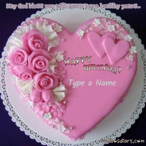 Pink Roses Heart Birthday Cake