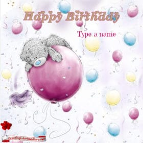 Balloon and bear birthday wishes