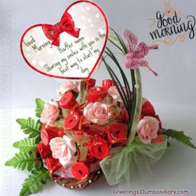 Morning red Roses bouquet wishes