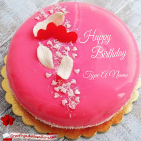 Two hearts pink cake cover