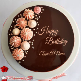 cream flowers chocolate cake cover