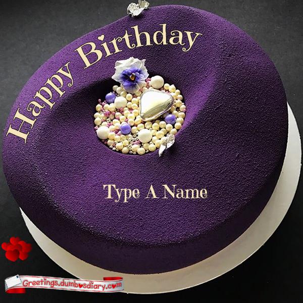purple pearled birthday cake